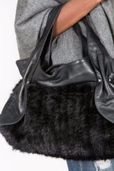 Knitted Mink & Leather Handbag