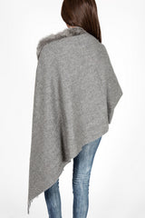 Wool- Cashmere Blend & Rex Rabbit Trimmed Shawl