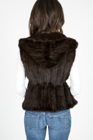 Denmark Mink Knitted Vest with Hood