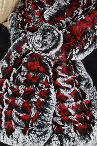 Chinchilla Rex/Silver Fox fur Scarf (dyed)
