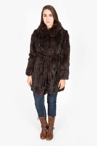 Brown Rabbit & Raccoon Fur Coat