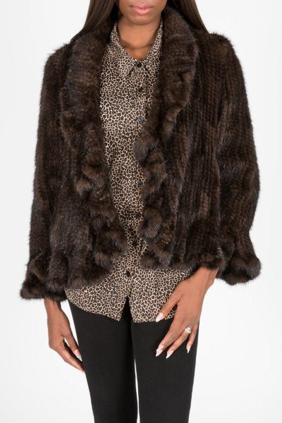 Knitted Genuine Mink Fur Ruffle Jacket