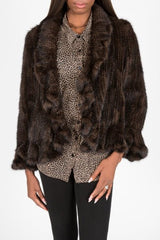 Knitted Mink Fur Ruffle Jacket