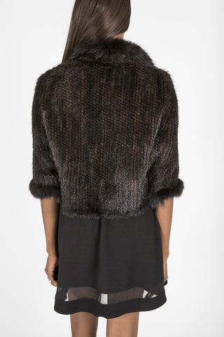 Knitted Genuine Mink & Fox Fur Capelet  (Denmark)