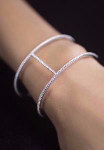 Cubic Zirconia & Sterling Silver Bracelet-  Rhodium Plated