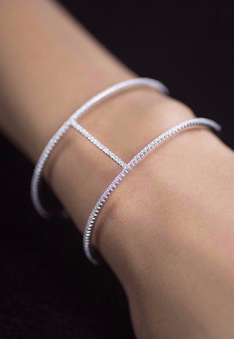Open Bangle Bracelet -Cubic Zirconia & Sterling Silver -  Rhodium Plated
