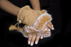 Fingerless Rabbit Gloves Tan