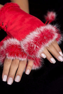 Fingerless Rabbit Gloves Red
