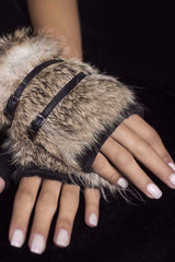 Rabbit Fur Fingerless Gloves with Buckle