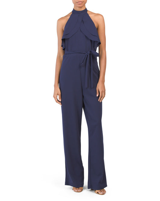 Navy Backless Jumpsuit by BEBE