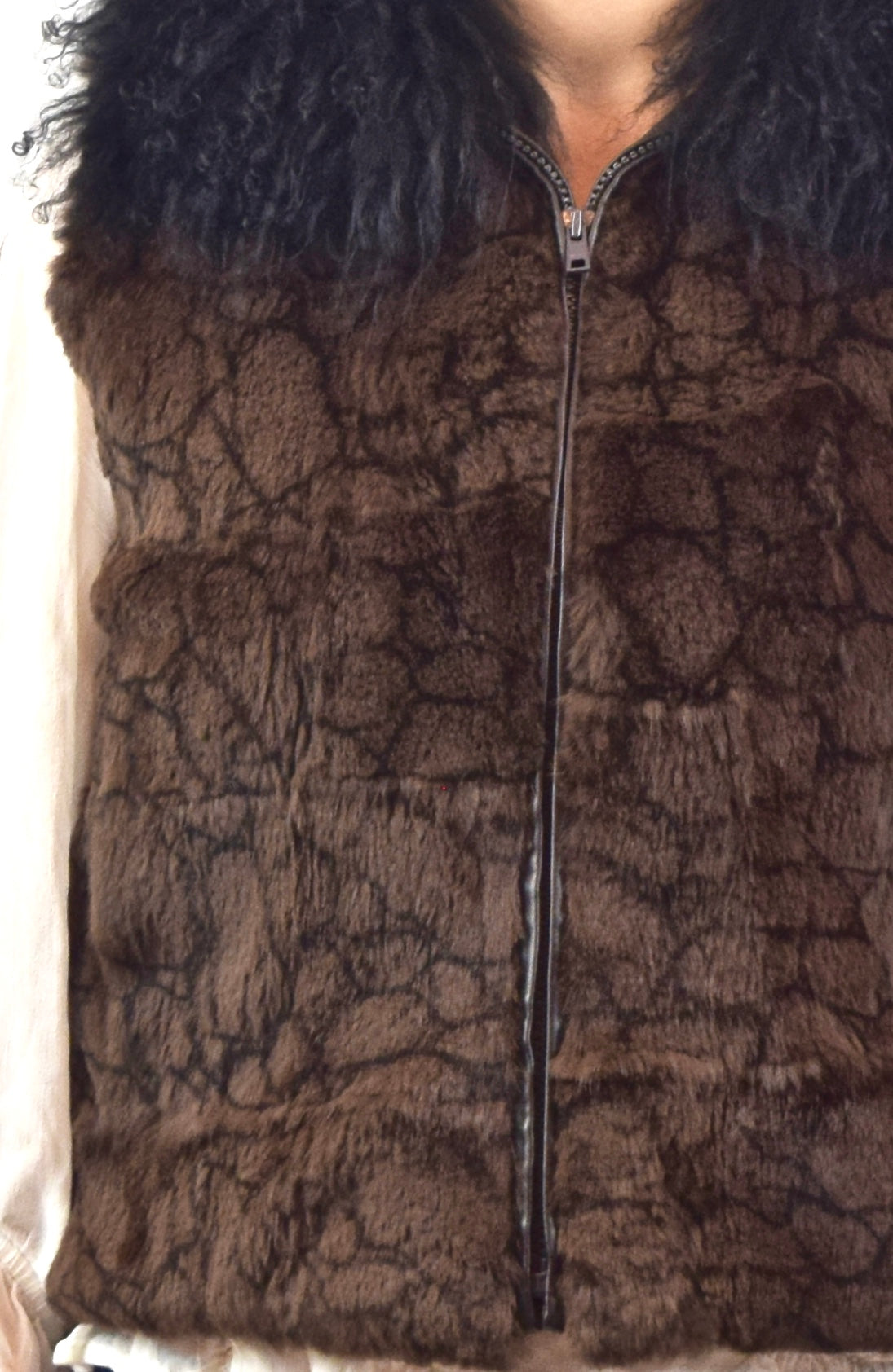 Rex Rabbit and Mongolian Lamb fur Vest (Dyed, Sheared)