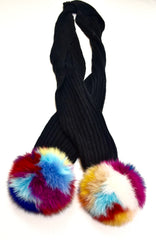 Lara Knit Scarf with Real Fox Fur Pom-Poms