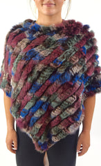 Knitted Rabbit Fur Poncho/Cape  (Multi-Colored)