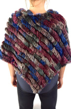 Load image into Gallery viewer, Knitted Rabbit Fur Poncho/Cape  (Multi-Colored)