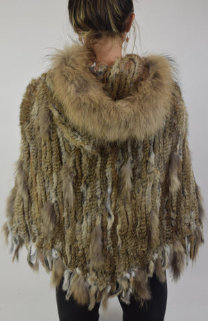 Rabbit & Raccoon Fur Poncho