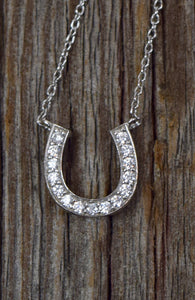 Horseshoe Necklace -925 Sterling Silver & Cubic Zirconia