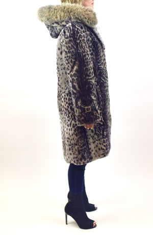 Leopard Dyed Mouton Lamb & Fox Fur Coat