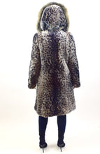 Load image into Gallery viewer, Leopard Dyed Mouton Lamb & Fox Fur Coat