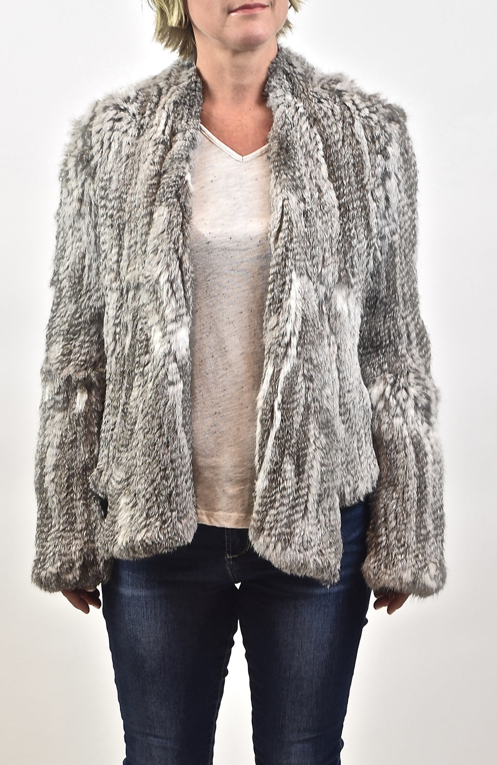 Knitted Rabbit Fur Jacket