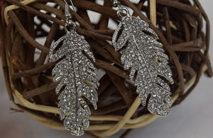 Boho Feather Crystal Earrings