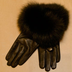 Lamb Leather Gloves with Fox Fur Cuff