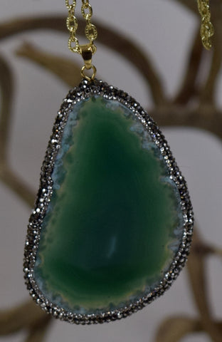 Green Onyx Slice Necklace