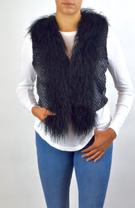 Sheared Rex Rabbit and Mongolian Lamb fur Vest