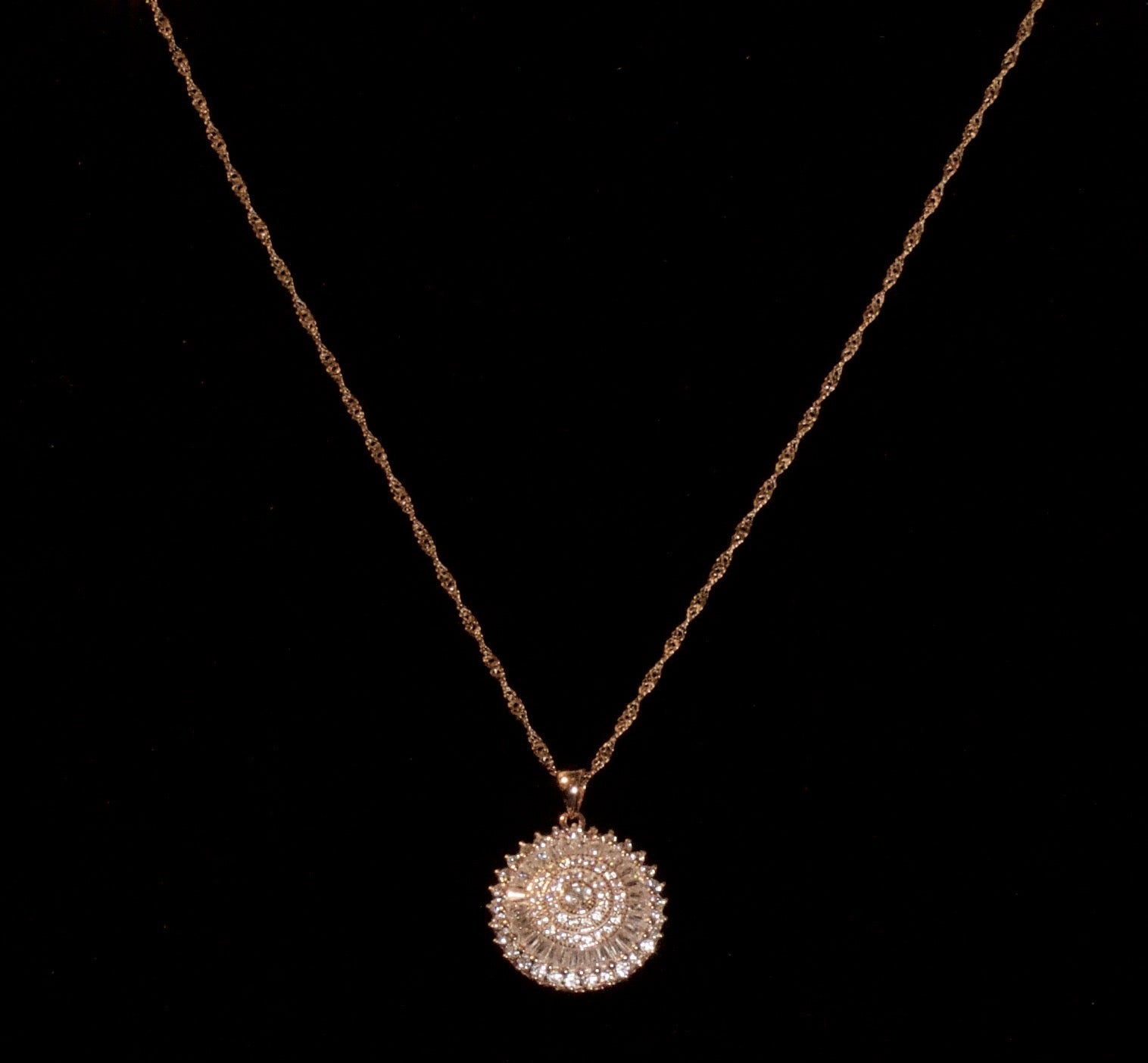 14K Rose Gold Plated Sterling Silver Necklace + Cubic Zirconia Pendent