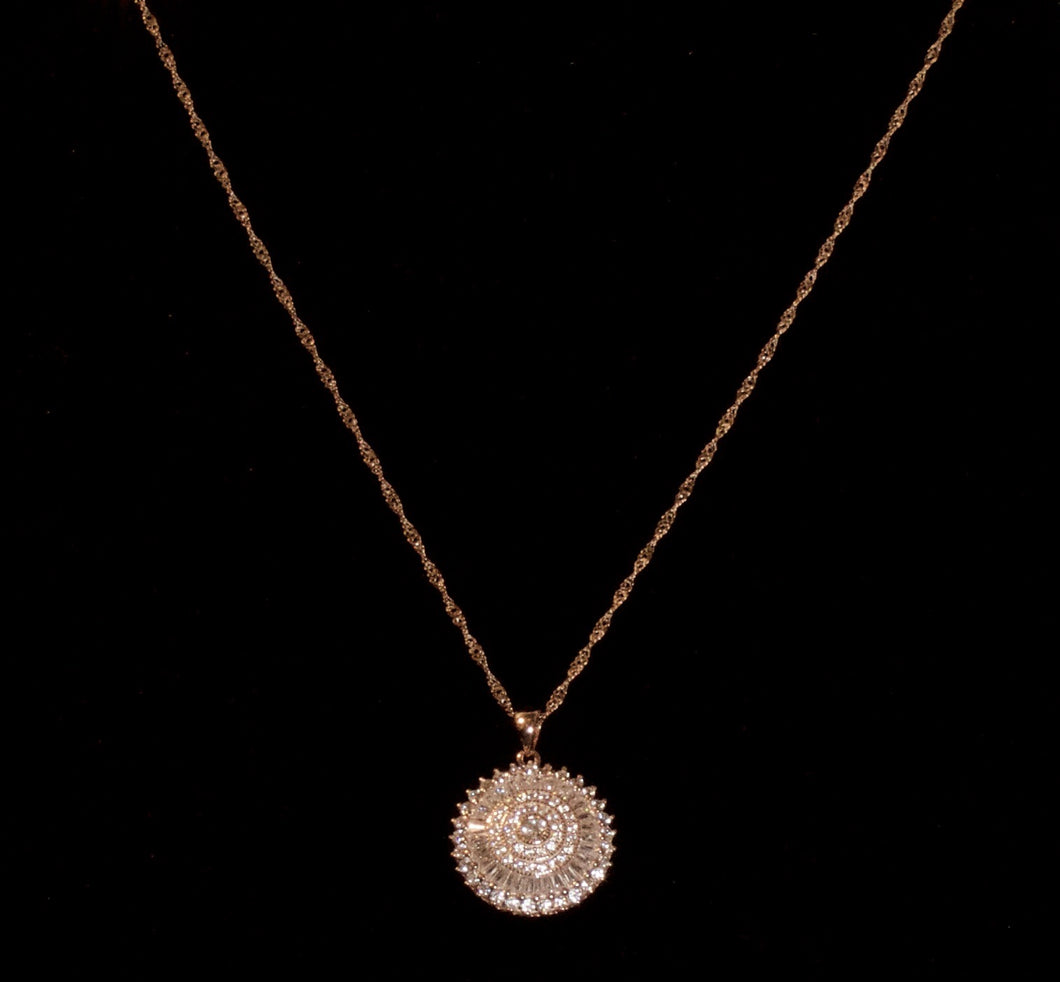 Rose Gold Plated over Sterling Silver Necklace + Cubic Zirconia Pendent