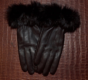 Lambskin Leather & Fox Fur Gloves