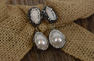 Pearl, Sea Shell & Crystal Earrings (Handmade)