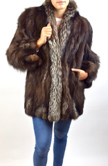 Silver Fox & Brown Fox fur Coat