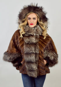 Mahogany Mink & Silver Fox Fur Hooded Vest/Jacket/Cape