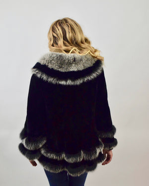 Sheared  & Dyed Chinchilla Rex & Fox Fur Coat/Cape