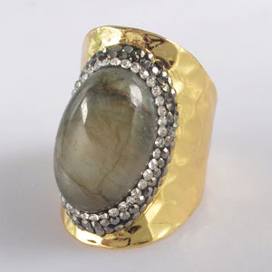 Gold Plated Labradorite & Crystal Ring