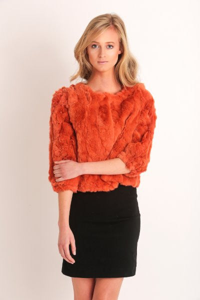 Orange Dyed Sheared Rex Rabbit Fur Jacket