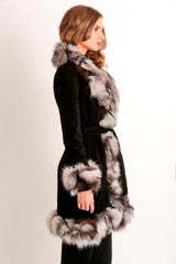Suede and  Fox Fur Coat