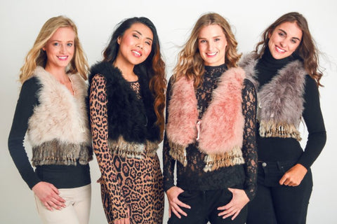 Ostrich Feather Vests with Rabbit Fringe