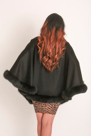 Cashmere & Genuine Fox Fur Cape  (Italian Design)