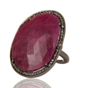 Natural Ruby & Pave Diamonds Sterling Silver Ring