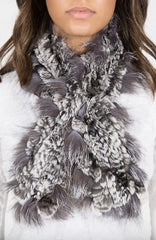 Chinchilla Rex/Silver Fox Fur Scarf