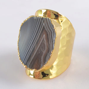 Gold Plated Handmade Agate Ring