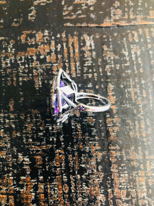 Amethyst & Diamond Ring (Sterling)