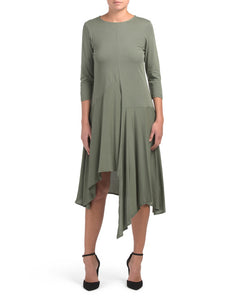 Army Green Italian Asymmetrical Hem Dress