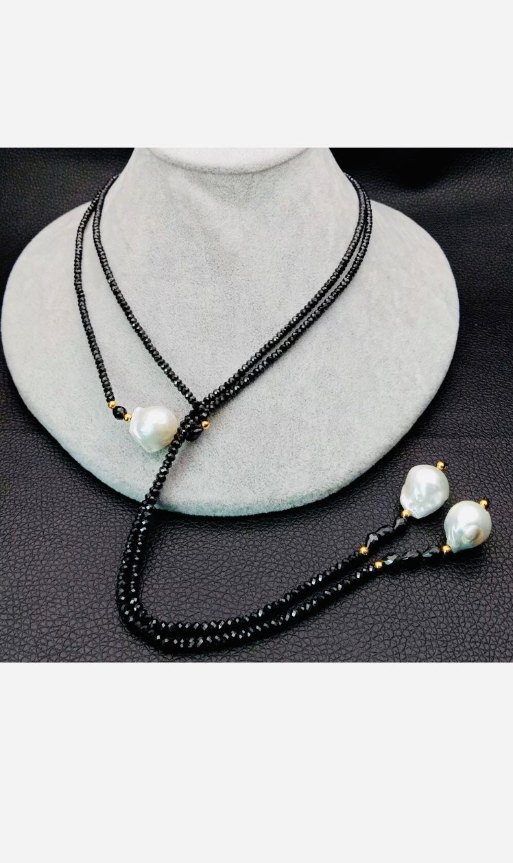 Black Spinel & Baroque Pearl Necklace