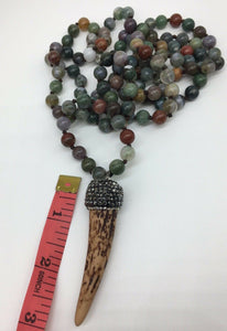 Bloodstone Necklace and Ox Horn Hematite Pendant