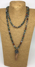 Load image into Gallery viewer, Bloodstone Necklace and Ox Horn Hematite Pendant