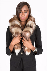 Fox Fur Boa/Scarf Brown/white