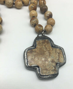 Jasper Cross Necklace