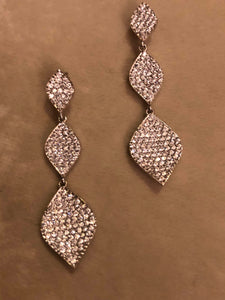 Sterling Silver White Topaz Pave Drop Earrings